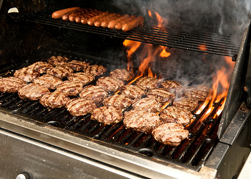 Image result for hot dogs and burgers on the grill pic